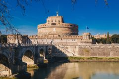 View of Sant Angelo Castle and Sant Angelo Bridge over Tiber Riv Royalty Free Stock Images
