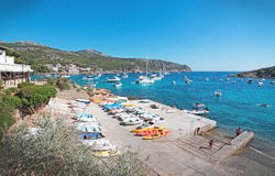 View in Sant Elm. SANT ELM, BALEARIC ISLANDS, SPAIN - JULY 10, 2016: View in Sant Elm on a sunny summer day on July 10, 2016 in Palma de Mallorca, Balearic Stock Photos