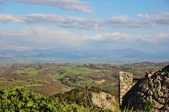 View from Sant`Oreste, Italy. View on the countryside from the city of Sant`Oreste, a hilltop village near Rome, Italy Royalty Free Stock Photos