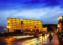 View of Sant Sebastian.   Kursaal  Congress Centre in evening Stock Photo