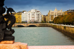 View of Sant Sebastian from Maria Cristina bridge Royalty Free Stock Photo