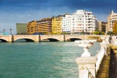 View of Sant Sebastian with Santa Catalina bridge Stock Image