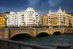 View of Sant Sebastian. Santa Catalina bridge Stock Photography