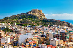 View of Santa Barbara Castle on Mount Benacantil above Alicante, Spain Stock Photography