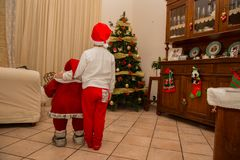 View of santa claus puppet with child Royalty Free Stock Photography
