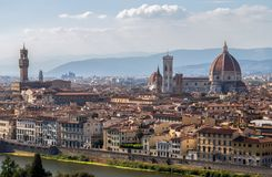 Panoramic view of Santa Maria dei Fiori Church,the Dome and Palazzo Vecchio from piazzale Michelangelo in Florence, Tuscany, Italy stock photos