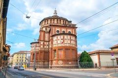 View of Santa Maria Novella church in milan, renaissance style, house of the da vinci`s fresco. ` the last supper stock photos