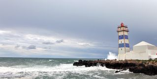 View of Santa Marta lighthouse in Cascais Royalty Free Stock Images