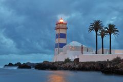 View of Santa Marta lighthouse in Cascais Stock Photo