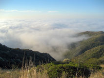 View from Santa Monica Conservancy with Marine Layer. View from the chaparral of the Santa Monica Conservancy above Malibu on the coast of California when the Stock Photography