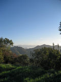 View from Santa Monica Conservancy with Marine Layer. View from the chaparral of the Santa Monica Conservancy above Malibu on the coast of California when the Royalty Free Stock Image