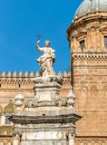 View of Santa Rosalia statue in front of the Palermo Cathedral, Sicily, Italy Stock Image