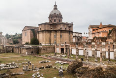View of Santi Luca e Martina church from Forum of Caesar in Rome Royalty Free Stock Photography