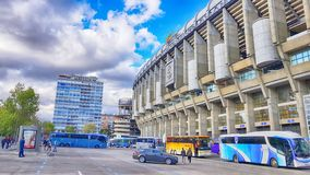 View of Santiago Bernabeu football stadium. MADRID, SPAIN - APRIL 8: View of Santiago Bernabeu football stadium at sunset on April 8, 2019 in Madrid, Spain stock image