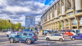 View of Santiago Bernabeu football stadium. MADRID, SPAIN - APRIL 8: View of Santiago Bernabeu football stadium at sunset on April 8, 2019 in Madrid, Spain stock photos