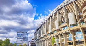 View of Santiago Bernabeu football stadium. MADRID, SPAIN - APRIL 8: View of Santiago Bernabeu football stadium at sunset on April 8, 2019 in Madrid, Spain royalty free stock photography