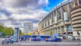 View of Santiago Bernabeu football stadium. MADRID, SPAIN - APRIL 8: View of Santiago Bernabeu football stadium at sunset on April 8, 2019 in Madrid, Spain royalty free stock image