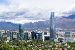 A view of Santiago Chile. Cityscape of Santiago Chile in latinamerica. A view of high buildings and mountains in a clear cloudy suny day stock images