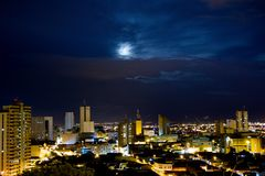 A view of Santiago de Cali, Colombia. A beautiful spot from Cali, Colombia, with a beautiful sky and moon Stock Photos