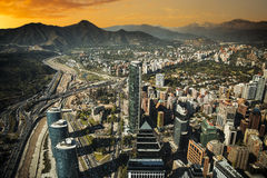 View of Santiago. De Chile with Los Andes mountain range in the back Stock Images