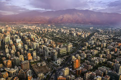 View of Santiago de Chile with Los Andes mountain range in the back. View of Santiago de Chile at sunset time with Los Andes mountain range in the back Royalty Free Stock Photo