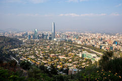 View of Santiago's skyline from Cerro San Cristobal, Chile Stock Images