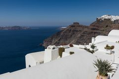 Santorini caldera in Greece from the coast. View of Santorini caldera in Greece from the coast royalty free stock photography