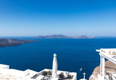 View Santorini caldera in Greece from the coast. View of Santorini caldera in Greece from the coast stock image