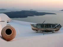 View of Santorini Caldera from Imerovigli, Nea Kameni Stock Photos