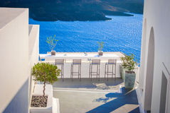 A view from Santorini island in Greece. A view from Balcony at Santorini island in Greece Royalty Free Stock Image