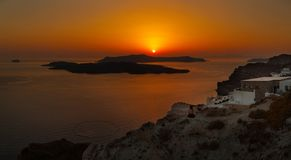 Sunset at Santorini island,Greece Royalty Free Stock Photography