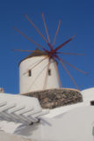 View of santorini. Island with soft focus lens, windmill Stock Photo