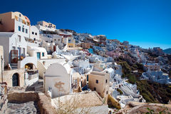 View of Santorini Oia village houses Stock Images