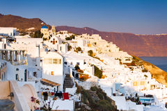 View of Santorini Oia village streets Stock Photography