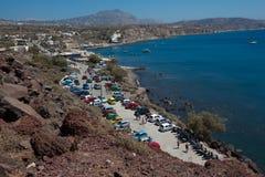 View of santorini. Parking for car near beach, santorini, greece Royalty Free Stock Photo
