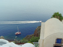 View of Santorini sea with many cruise ships Royalty Free Stock Photos