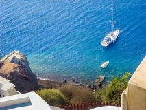 View of Santorini sea with many cruise ships Stock Photo
