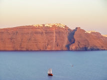 View of Santorini sea with many cruise ships Stock Images