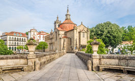 View at the Sao Goncalo monastery through the Old bridge over the river Tamega in Amarante ,Portugal Stock Image