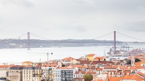 The Lisbon Skyline Towards the Ponte 25 de Abril. The view from Sao Jorge castle across the Lisbon skyline towards the Ponte 25 de Abril Royalty Free Stock Photography