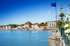 View of Gray Town and Haute Saone river, France Royalty Free Stock Images