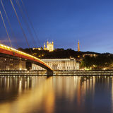 View of Saone river at late sunset in Lyon city Royalty Free Stock Photos