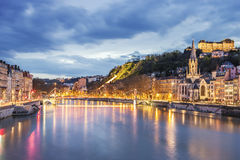 View of Saone river in Lyon city at evening Royalty Free Stock Photography