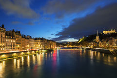 View of Saone river in Lyon city at evening Stock Photos