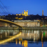 View of Saone river at Lyon by night Royalty Free Stock Photography
