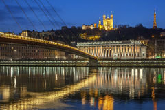 View of Saone river at Lyon by night Royalty Free Stock Photos