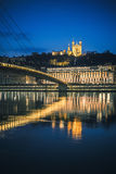 View of Saone river at Lyon by night Stock Photography