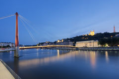 View of Saone river at Lyon by night Stock Photo