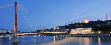 View of Saone river at Lyon by night. France Royalty Free Stock Photos