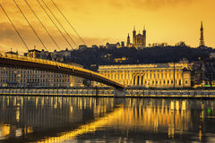 View of Saone river at Lyon at sunset Stock Photos